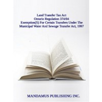 Exemption(S) For Certain Transfers Under The Municipal Water And Sewage Transfer Act, 1997